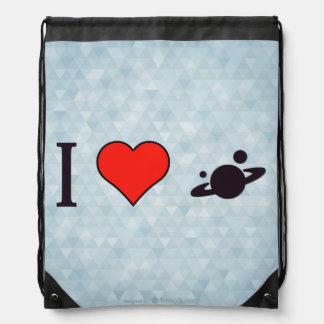 I Love Solar System Drawstring Bag
