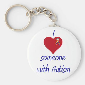 I love someone w Autism Basic Round Button Key Ring