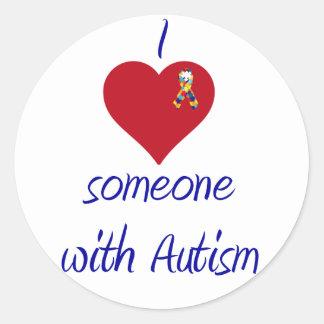 I love someone w Autism Classic Round Sticker