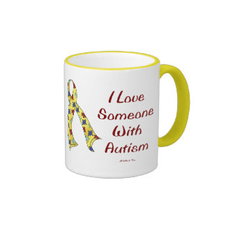 I LOVE SOMEONE WITH AUTISM COFFEE MUGS