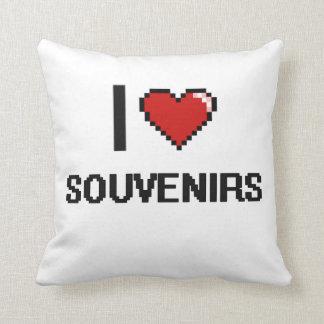I Love Souvenirs Digital Retro Design Throw Pillow