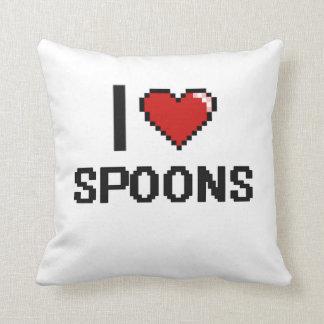 I Love Spoons Digital Retro Design Throw Cushions