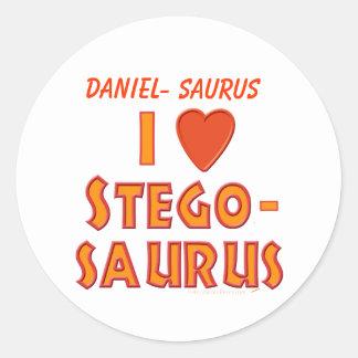 I Love Stegosaurus Dinosaur Lovers Classic Round Sticker