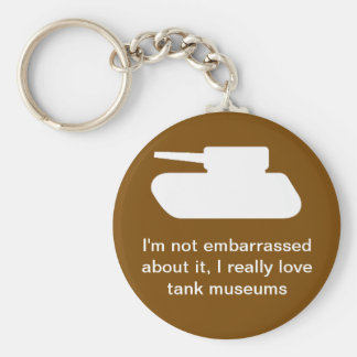 I love tank museums basic round button key ring