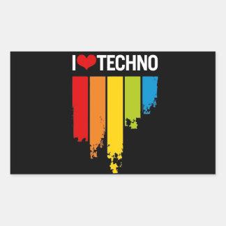 I Love Techno Music Rectangular Sticker