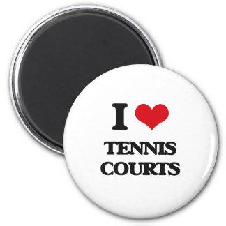 I love Tennis Courts 2 Inch Round Magnet
