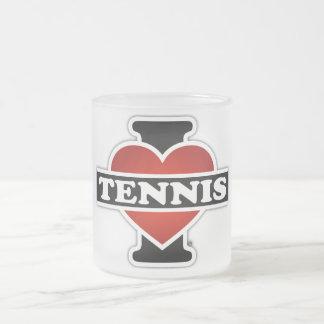 I Love Tennis Frosted Glass Coffee Mug