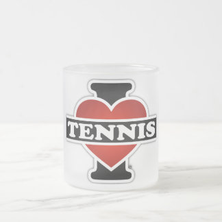I Love Tennis Frosted Glass Mug
