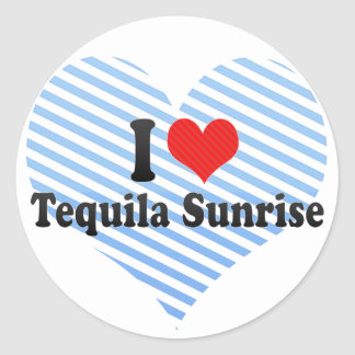 I Love Tequila Sunrise Round Stickers
