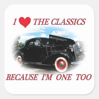 I love the classics square sticker