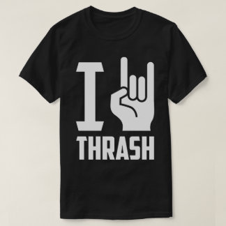 I Love Thrash Heavy Metal Horns Hand Symbol Tee