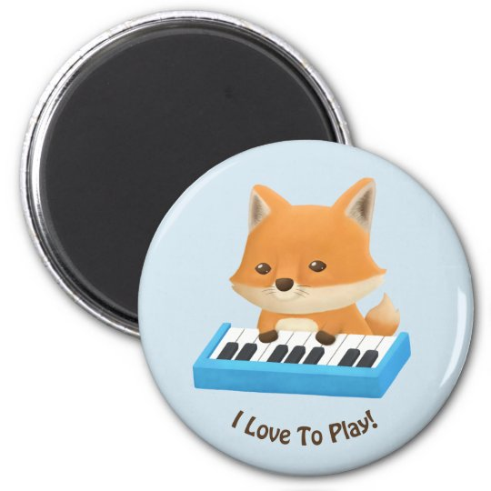I love to Play Cute Fox on Piano Kids Magnet