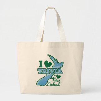 I love TRIVIA an I Love New Zealand! Large Tote Bag