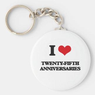 I love Twenty-Fifth Anniversaries Basic Round Button Keychain