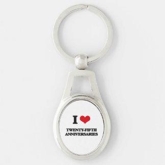 I love Twenty-Fifth Anniversaries Silver-Colored Oval Keychain