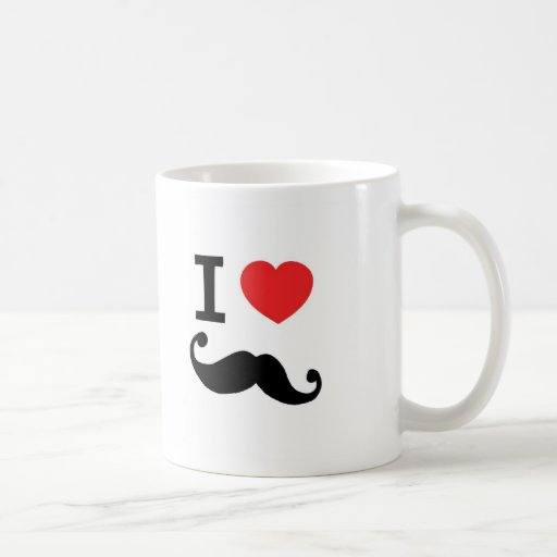 I Love twirly mustache Mug