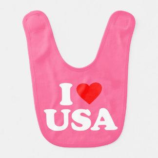 I LOVE USA BABY BIBS
