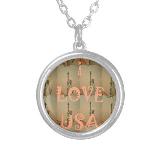 I Love USA Silver Plated Necklace