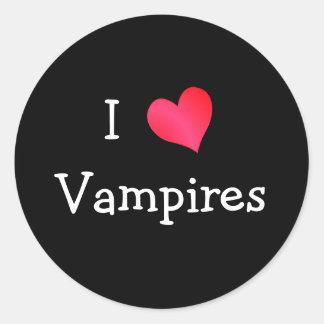 I Love Vampires Classic Round Sticker