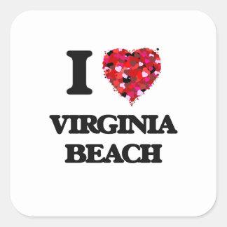 I love Virginia Beach Virginia Square Sticker