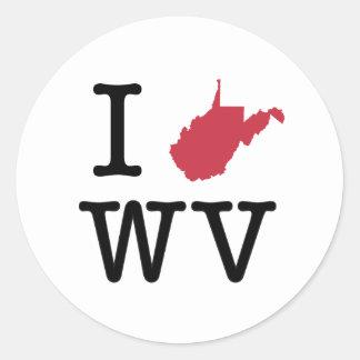 I Love West Virginia Classic Round Sticker