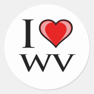 I Love WV - West Virginia Round Sticker