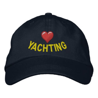 I love yachting with heart graphic embroidered hat