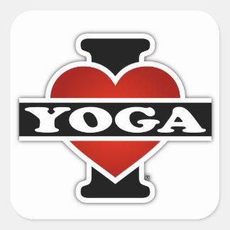 I Love Yoga Square Sticker