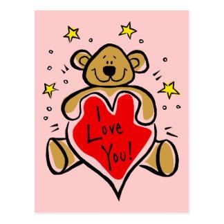 I Love You Bear Postcard