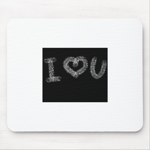 I love you black background mouse pad