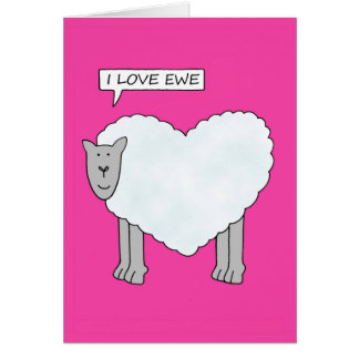 I love you, cartoon valentine sheep. greeting card