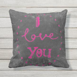 I love you Chalk pink patio cushion  decor pillow