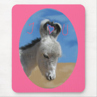 I Love You Donkey Mouse Pad