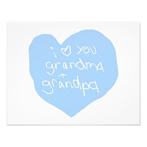 I Love You Grandma And Grandpa Blue Invites