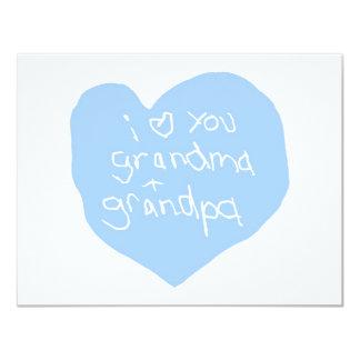 "I Love You Grandma And Grandpa Blue 4.25"" X 5.5"" Invitation Card"