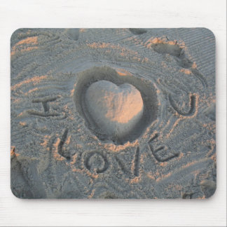 I love you in the sand mouse pads