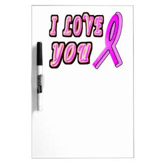 I Love You Pink Ribbon Dry Erase Board