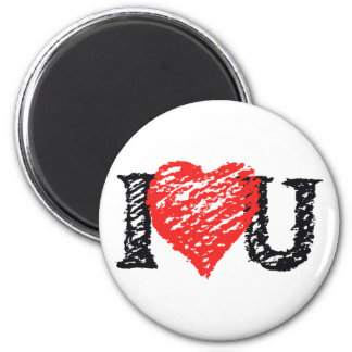 """I Love You"" Scribble 6 Cm Round Magnet"