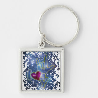 I LOVE YOU / sign language Silver-Colored Square Key Ring