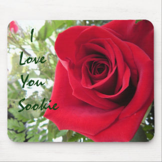 I Love You - Single Red Rose Mouse Pad