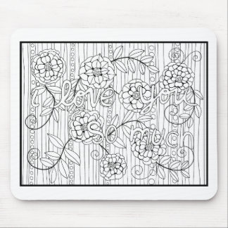 I Love You So Much Line Art Design Mouse Pad