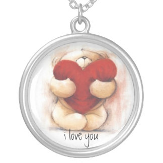 I love You Teddy Sterling Silver Necklace