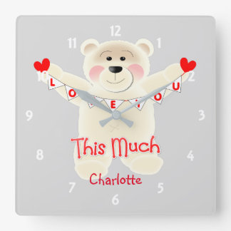 I Love You This Much Cute Teddy Bear Personalized Clocks