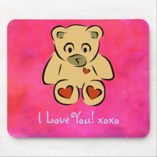 I Love You Toy Bear with hearts Mouse Pad