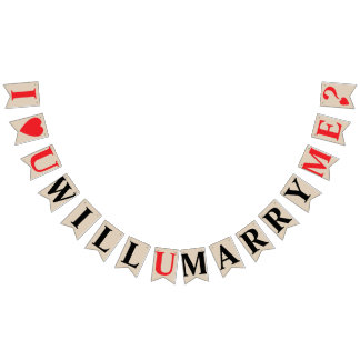 I LOVE YOU, WILL YOU MARRY ME? Khaki Color Bunting