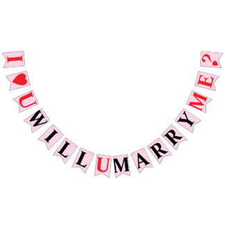 I LOVE YOU, WILL YOU MARRY ME? Light Pink Color Bunting