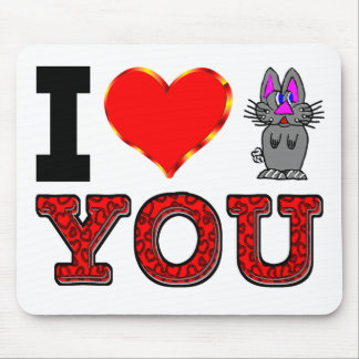 I Love You with Adorable Bunny Mouse Pad