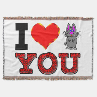 I Love You with Adorable Bunny Throw Blanket