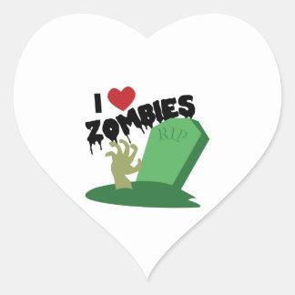 I Love Zombies Heart Sticker
