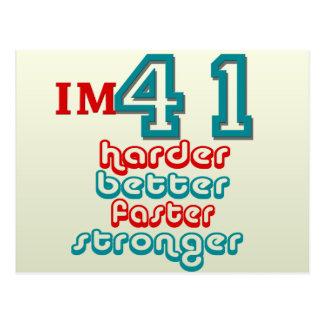I m Fourty One Harder Better Faster Stronger Bir Postcard